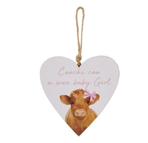 Langs - Highland Cow - Baby Girl Hanging Heart