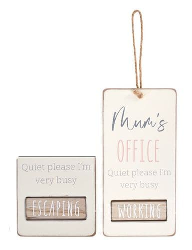 Langs - Mum's Office Hanging Plaque - Working/Escaping
