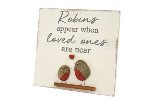 Langs - Robin's Appear When Loved Ones Are Near Pebble Plaque