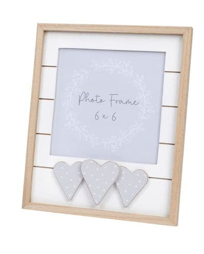 Langs - Slatted Wooden Frame With Dotty Hearts