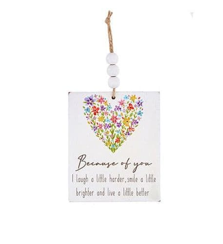 Langs - Wooden Hanging Dec Floral - Because Of You