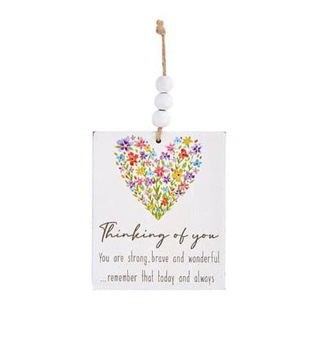 Langs - Wooden Hanging Dec Floral - Thinking Of You