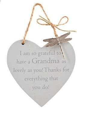 Langs - Wooden Hanging Heart With Dragonfly - Grandma