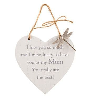 Langs - Wooden Hanging Heart With Dragonfly - Mum