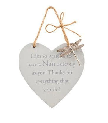 Langs - Wooden Hanging Heart With Dragonfly - Nan