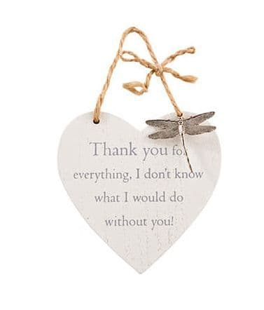 Langs - Wooden Hanging Heart With Dragonfly - Thank You