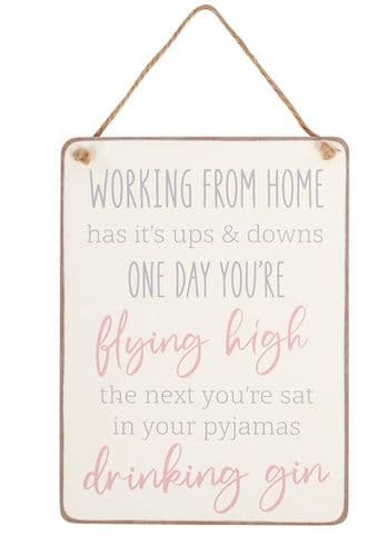 Langs - Wooden Hanging Sign - Working from home