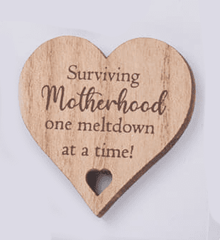 Langs - Wooden Heart Magnet - Surviving Motherhood