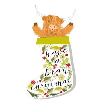 Pink Pig - Have A  Braw Christmas - Card