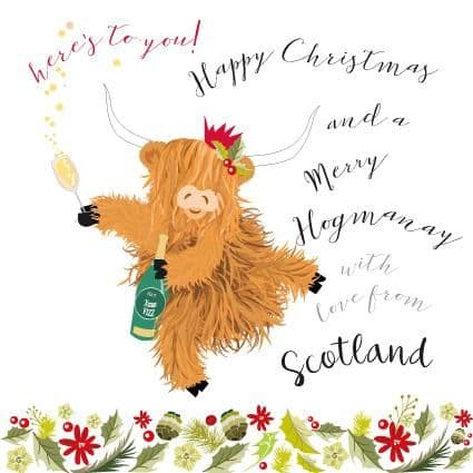 Pink Pig - Here's Tae You - Christmas Card - From Scotland