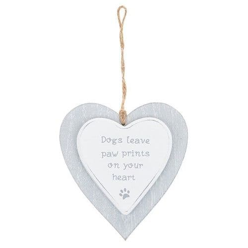 Provence - Cool Grey Hanging Heart - Dogs (731)