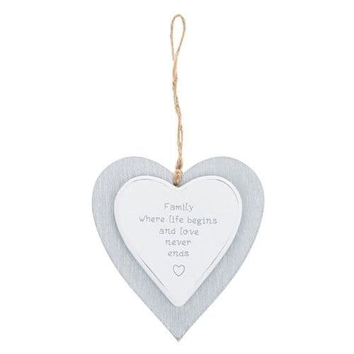 Provence - Cool Grey Hanging Heart - Family (730)