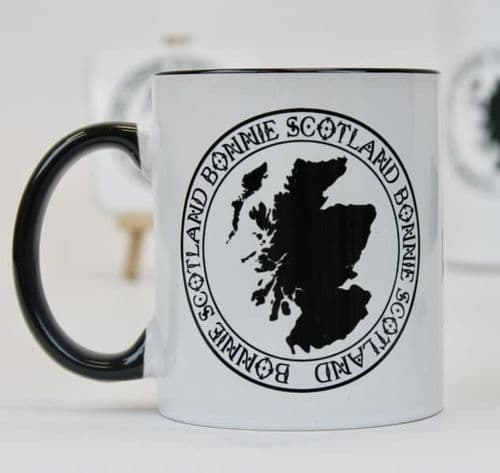 Scottish  Black Handled Mug - Scotland Map