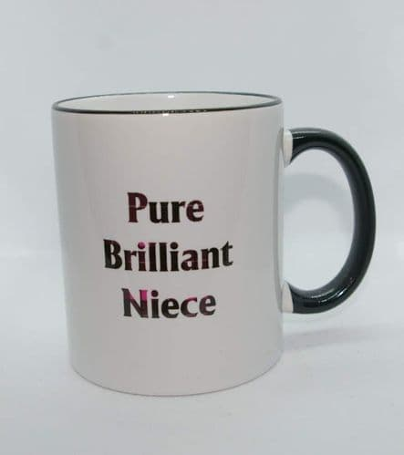 Scottish - Black/Pink Tartan Words Mug - Pure Brilliant Niece