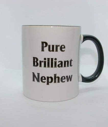 Scottish - Black Tartan Words Mug - Pure Brilliant Nephew
