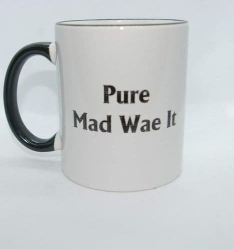 Scottish - Black Tartan Words Mug - Pure Mad Wae It