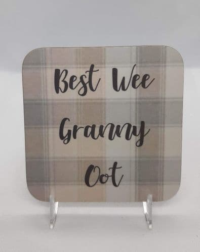 Scottish - Pastel Tartan Coaster - Best Wee Granny