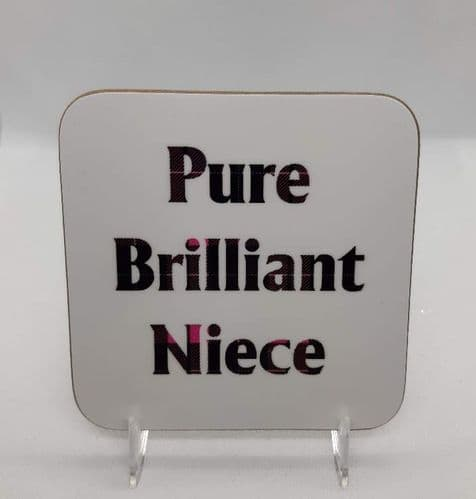 Scottish Tartan Words Coaster - Pure Brilliant Niece