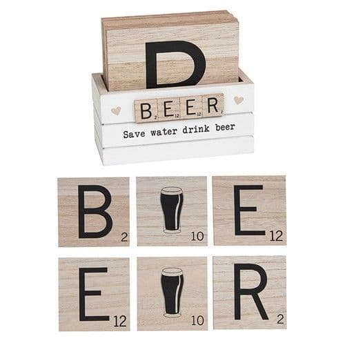 Scrabble Coaster - Set Of 6 - Beer (922)