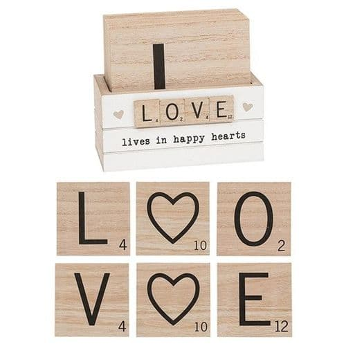 Scrabble Coaster Set Of 6 -Love (297331)
