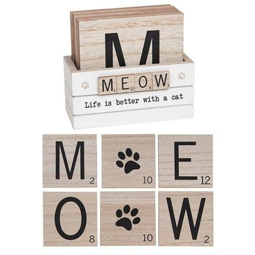 Scrabble Coaster Set Of 6 - Meow (921)