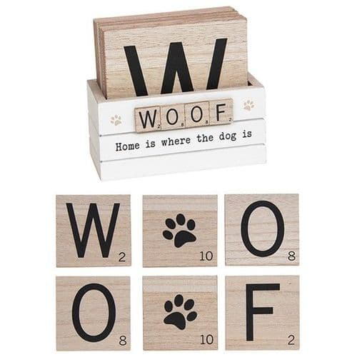 Scrabble Coasters Set Of 6 - Woof (920)