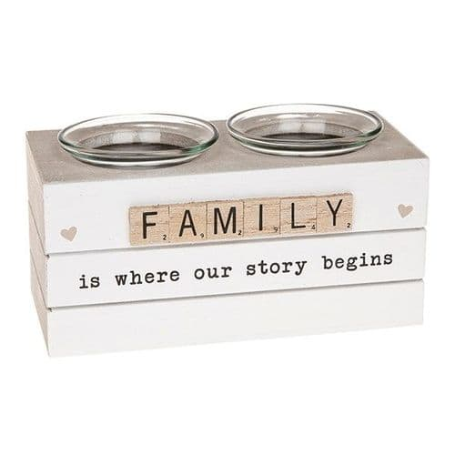 Scrabble Double Tealight Holder-  Family (320)