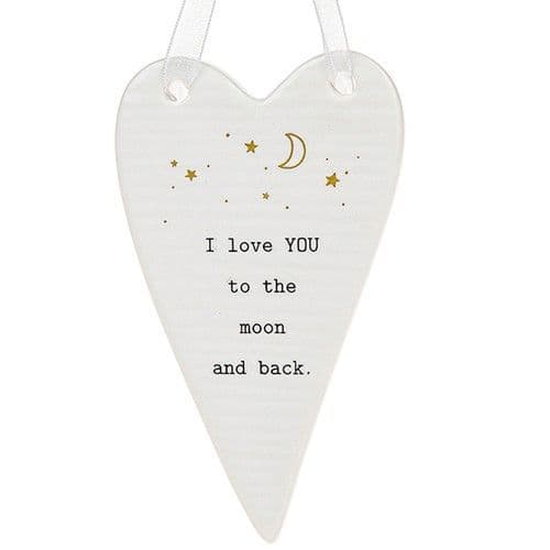 Thoughtful Words - Ceramic Heart - Love you to Moon (431)