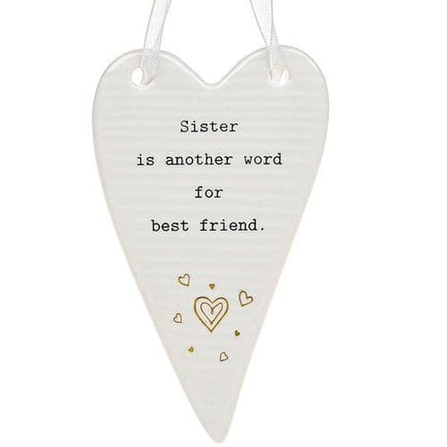 Thoughtful Words - Ceramic Heart - Sister (433)