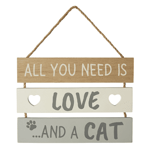 Transomnia - All You Need Is Love And A Cat Slatted Sign