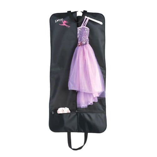 """Love Dance"" Costume Carrier Garment Bag for Dancers and Performers Black"
