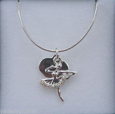 """Ballerina Dancer Heart Pendant/Necklace Tutu with Crystals 16"""" chain Gift Boxed £6.99 - UK delivered price"""