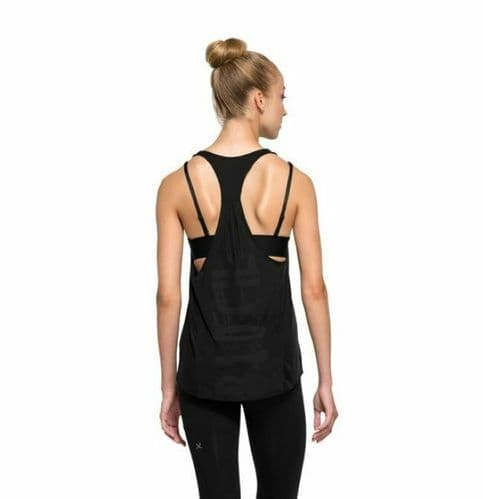 BLOCH Ladies Action Back Loose Fit Dance Gym Top with Bloch Brand Logo Black