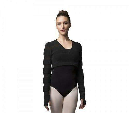 BLOCH Ladies Dance Sheer Stripe Cotton Knit Long Sleeve Wrap Over Top Warm up