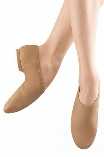 BLOCH Neo-Flex Leather Split Sole Slip on Jazz Shoes Neoprene Arch S0495 Tan