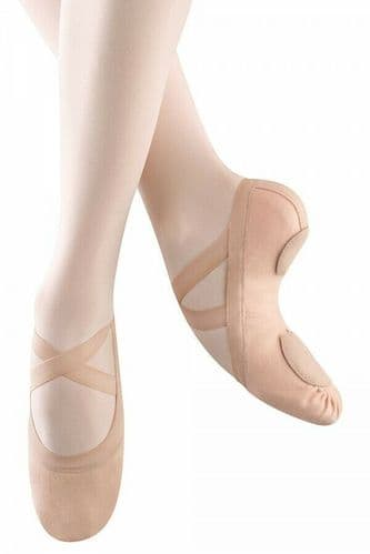 Bloch Synchrony Stretch Canvas Ballet Shoes Split Sole with Elastics Pink S0625
