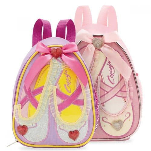 Capezio Girls Soft Dance Bag with Ballet Shoe Design Slippers Backpack B122