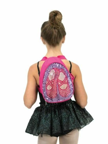 Capezio Girls Soft Dance Bag with Reversible Glitter Design Backpack B222