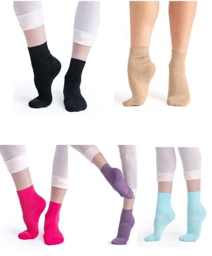 CAPEZIO Lifeknit™ Sox Dance Ankle Socks Compression Slip-free Life Knit H066