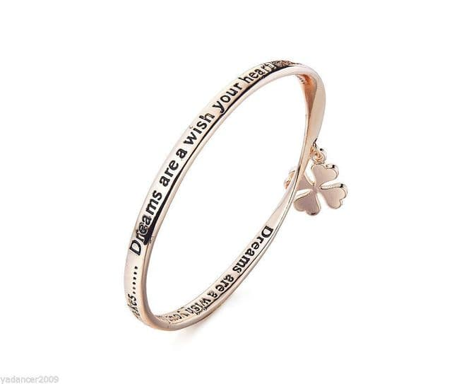 DREAMS ARE A WISH YOUR HEART MAKES Bangle Engraved Quote Charm Rose Gold Finish