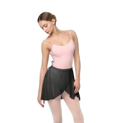 GRISHKO Ladies Dance Wrap Around Skirt Mesh Fabric Stretch Waist Black
