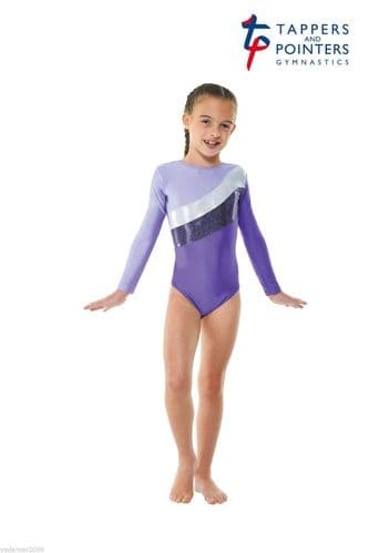 Gymnastics Long Sleeved Leotard Purple Tappers and Pointers Gym 19