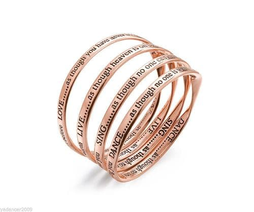 LIVE LOVE DANCE SING Set of 4 Bangles Engraved Quotes Rose Gold Finish Gift Box