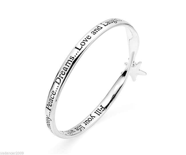 PEACE DREAMS LOVE and LAUGHTER Bangle Engraved Quote Star Charm Silver Finish