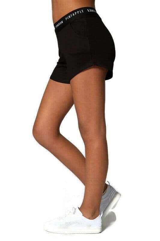 PINEAPPLE DANCEWEAR Girls Dance Shorts with Double Waistband Gym Sports Black