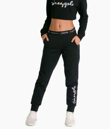PINEAPPLE DANCEWEAR GIRLS Script Jogger Trackpants Black with Silver Logo