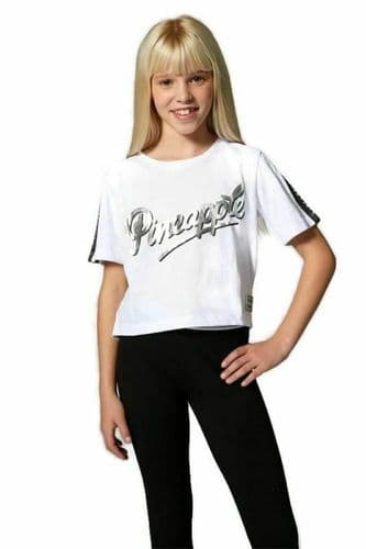 PINEAPPLE DANCEWEAR SALE Girls Short Sleeved Jacquard Dance Tee Top T-Shirt White