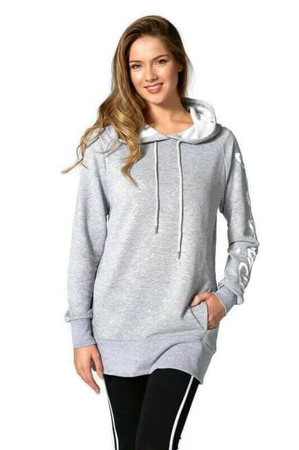 PINEAPPLE Dancewear Womens Loopback Longline Sweater Hoodie Sweatshirt Grey