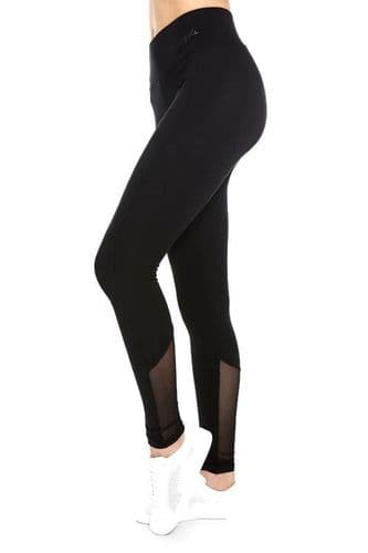 PINEAPPLE DANCEWEAR Womens Monroe Leggings Black Stretch Fabric Sheer Mesh Panel