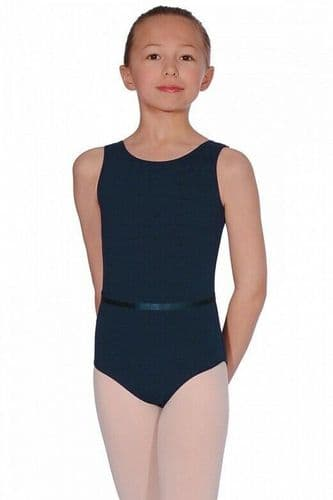 Roch Valley Dance Leotard & Belt CJune Cotton/Lycra Ballet RAD Exam Navy Blue